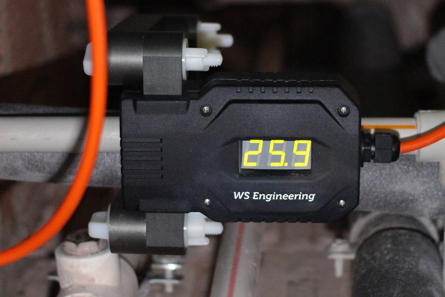 Индикатор противонакипного устройства WS-62 показывает уровень сигнала