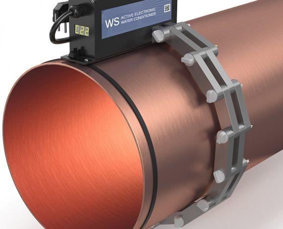 WS-500 (Ду500) ферритное противонакипное устройство установлено на трубе